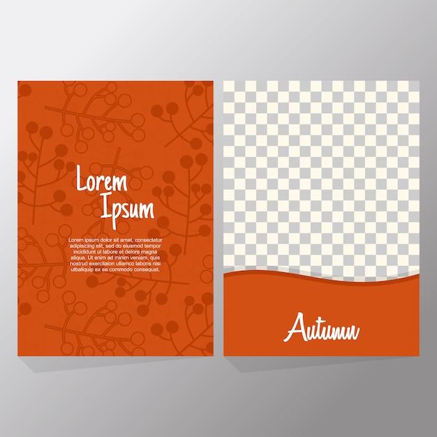 Orange collection set of autumn sale and typography flyer Premium Vector