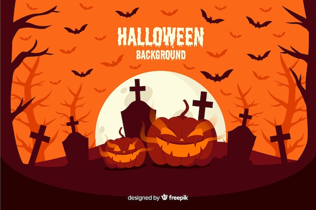 Orange colored shades with angry pumpkins Free Vector