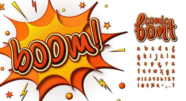 Orange comics font Premium Vector
