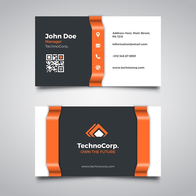 Orange corporate business card template Free Vector