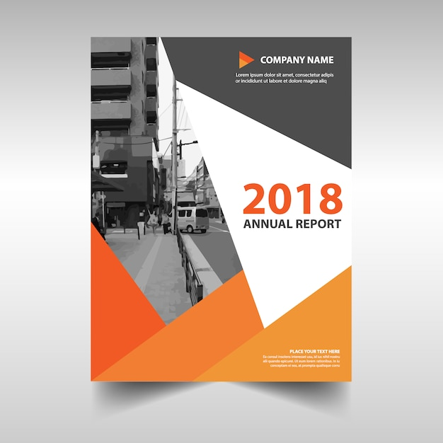 Creative Book Cover Page : Orange creative annual report book cover template vector