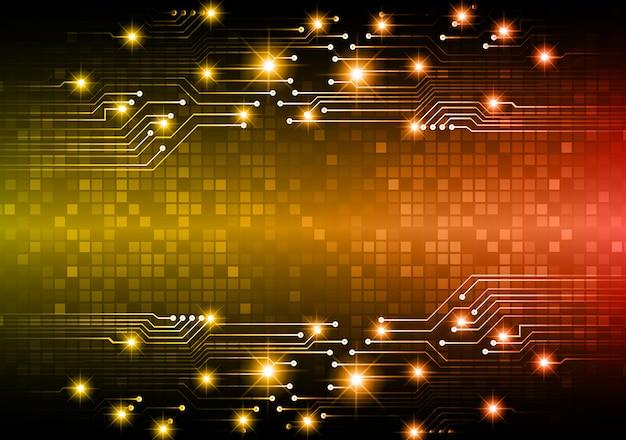 Orange cyber circuit future technology concept background Premium Vector