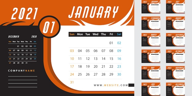 Orange desk calendar 2021 Free Vector