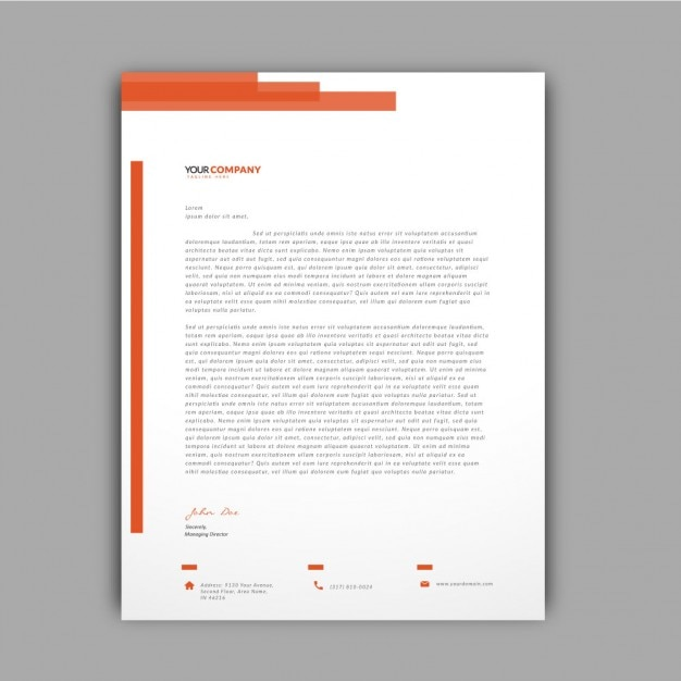 Orange details letterhead template Vector | Free Download