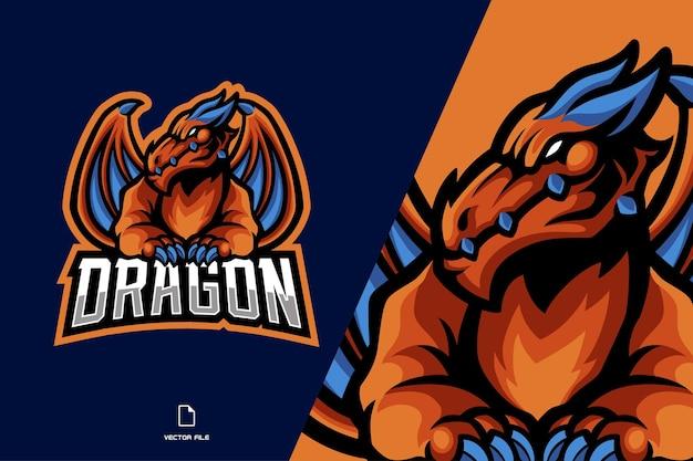翼のマスコットのロゴとオレンジ色のドラゴン Premiumベクター