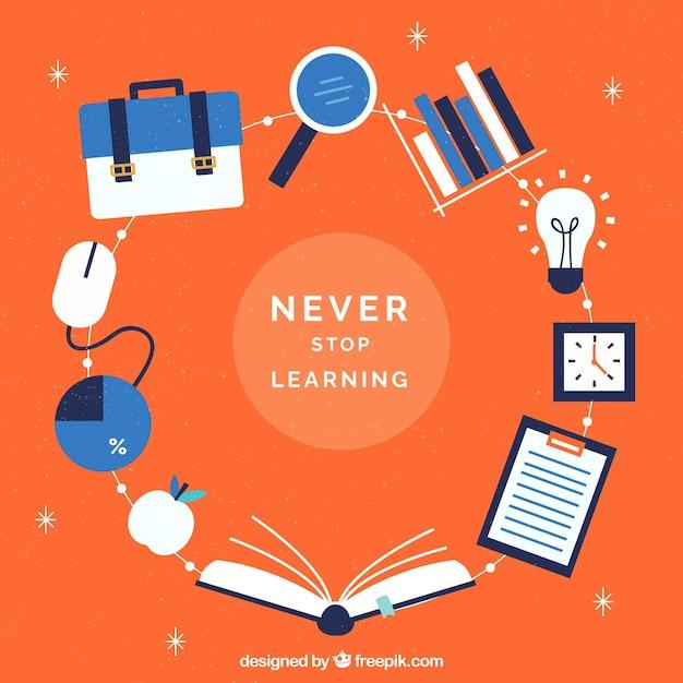 Orange education background Free Vector