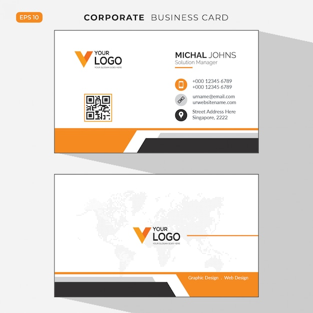 Orange elegant corporate  business card Free Vector