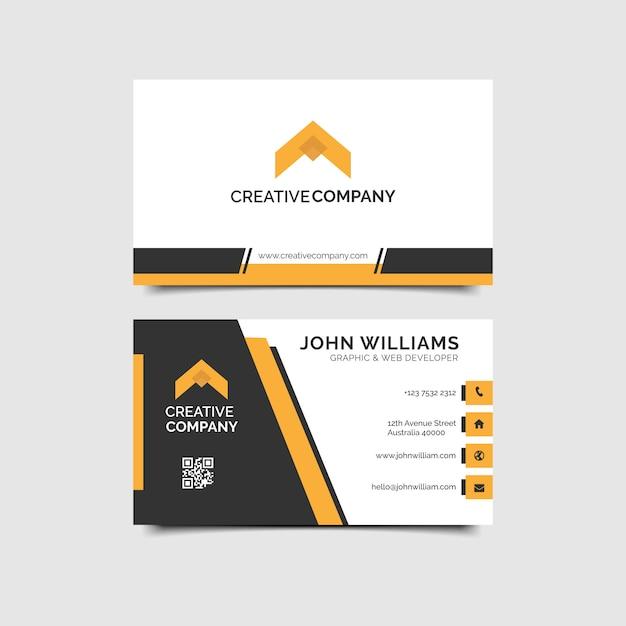 Orange elegant corporate business card Premium Vector