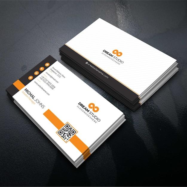 Orange elegant corporate card Free Vector