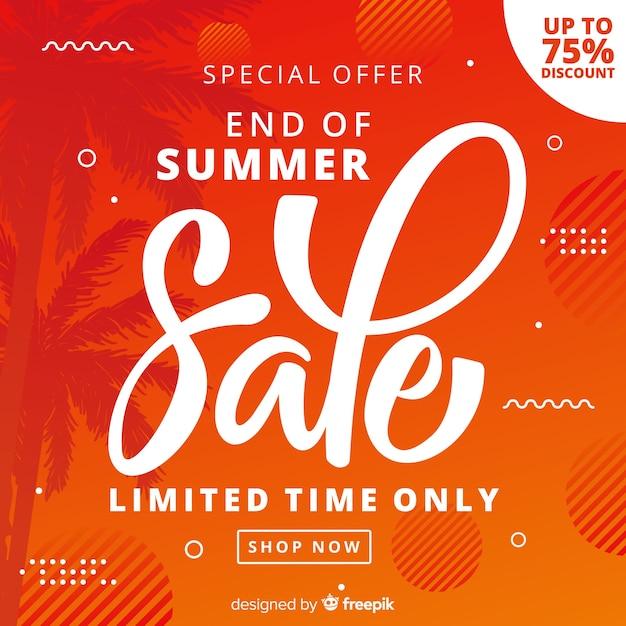 Orange end of summer sales background Free Vector
