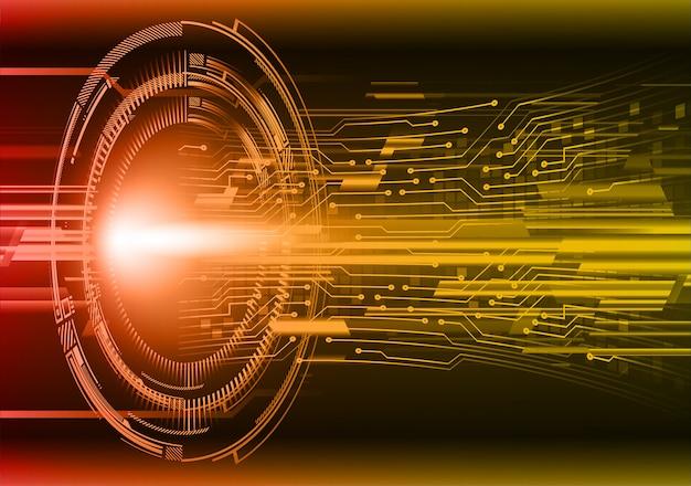 Orange eye cyber circuit future technology background Premium Vector