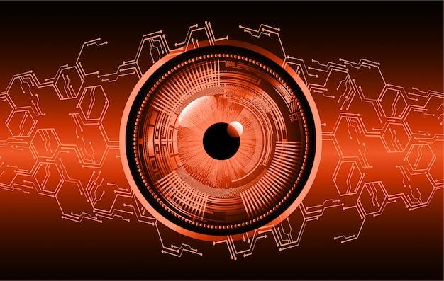 Orange eye cyber circuit future technology concept background Premium Vector