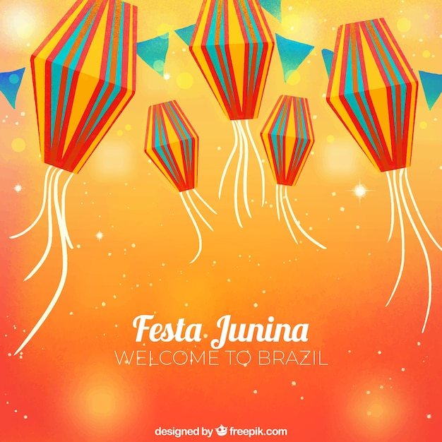 Orange festa junina background Free Vector