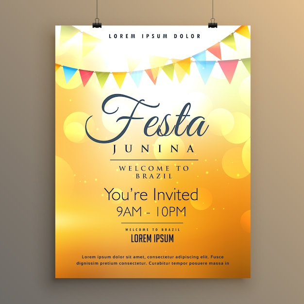 orange festa junina poster template vector free download