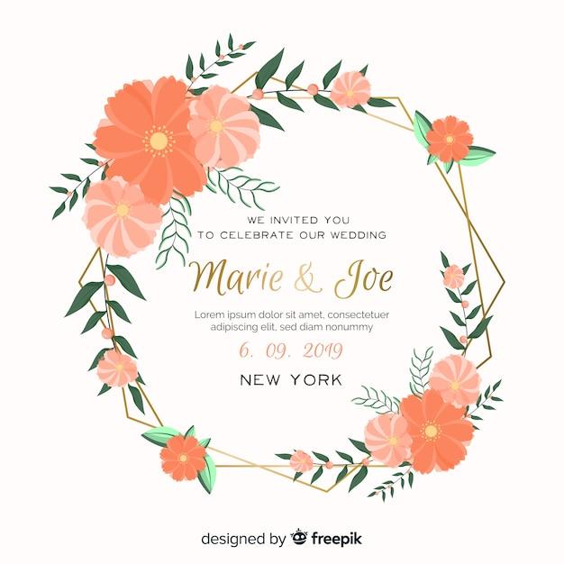 Orange floral frame wedding invitation Free Vector