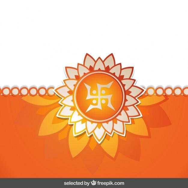 Orange floral rakhi background Free Vector