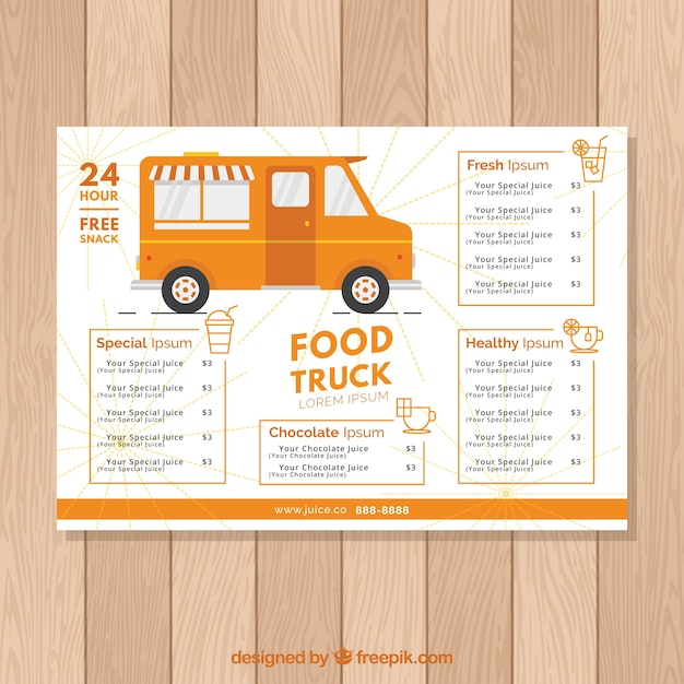 Orange food truck menu template