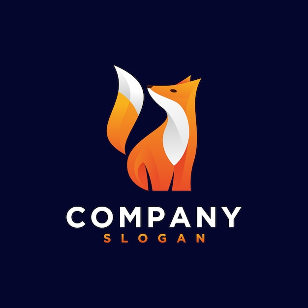 Orange fox logo Premium Vector