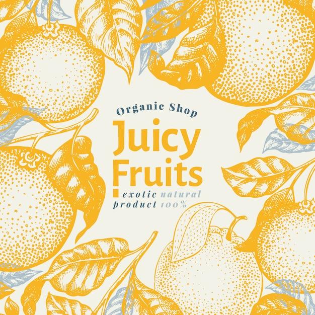 Orange fruit design template. hand drawn vector fruit illustration. engraved style banner. retro citrus background. Premium Vector