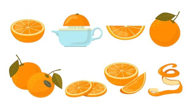 Оранжевый фруктовый набор иконок Бесплатные векторы