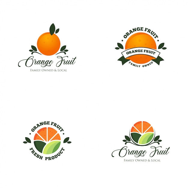 Orange fruit logo set vector Premium Vector