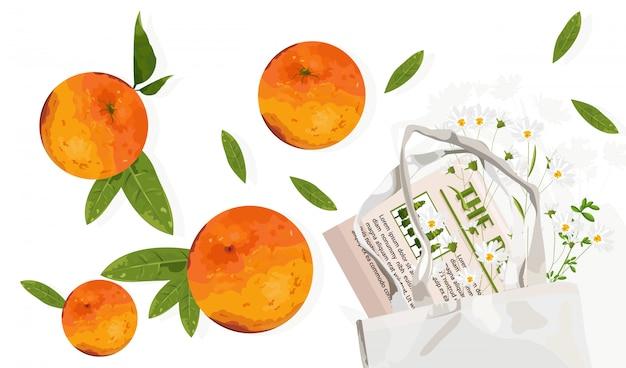 葉とエコロジーバッグとオレンジ色の果物。再利用可能な環境に優しい製品の広告 無料ベクター