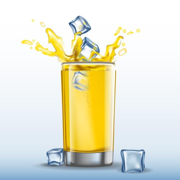 Orange Glass With Ice Cube Splash, Glass Ice Cubes Vector
