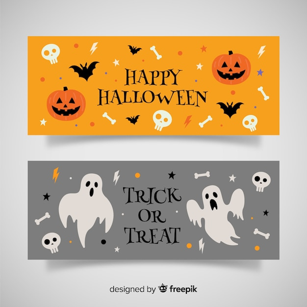 Orange and gray halloween banners Free Vector