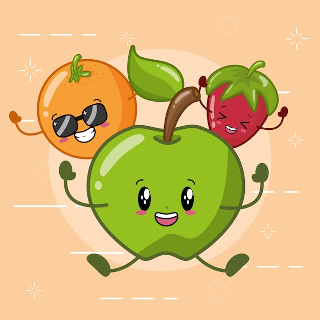 Orange, green apple and strawberry smiling in kawaii style. Free Vector