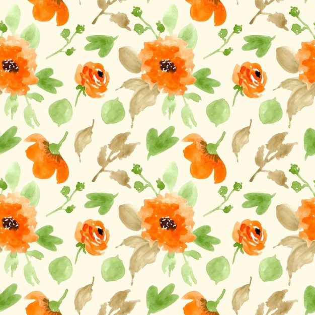 Orange green floral watercolor seamless pattern Premium Vector