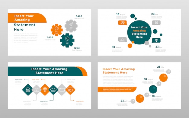 Orange green rounds colored business concept power point presentation pages template Free Vector