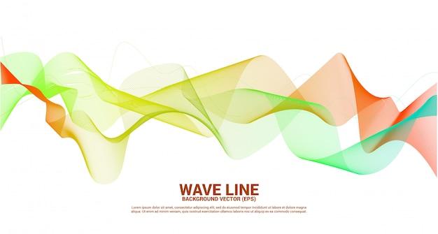 Orange green sound wave line curve on dark background. element for theme technology futuristic vector Premium Vector