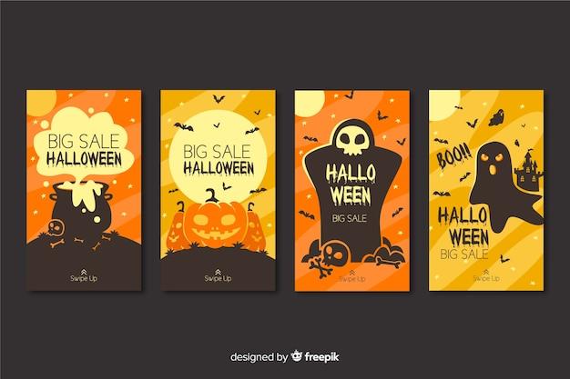 Orange halloween intagram stories collection Free Vector