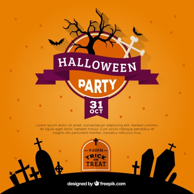 Http Www Freepik Com Free Vector Orange Halloween Party Invitation 804681 Htm