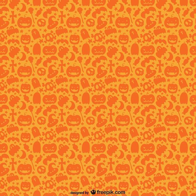 Orange Halloween pattern Free Vector