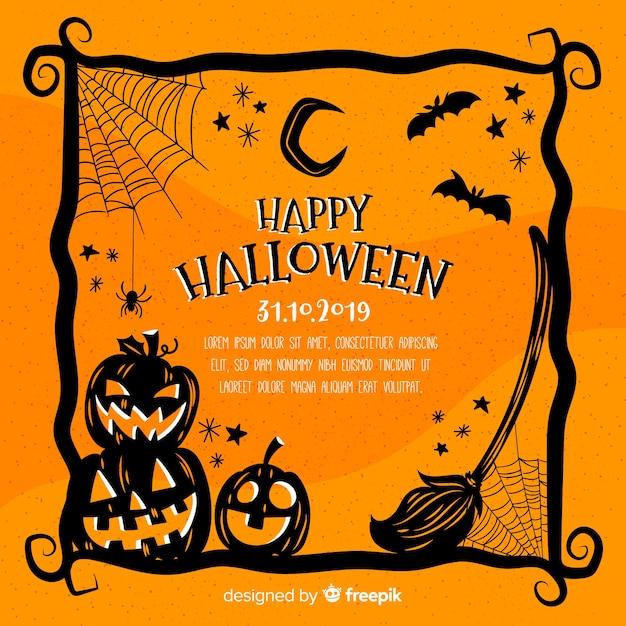Orange hand drawn halloween frame Free Vector