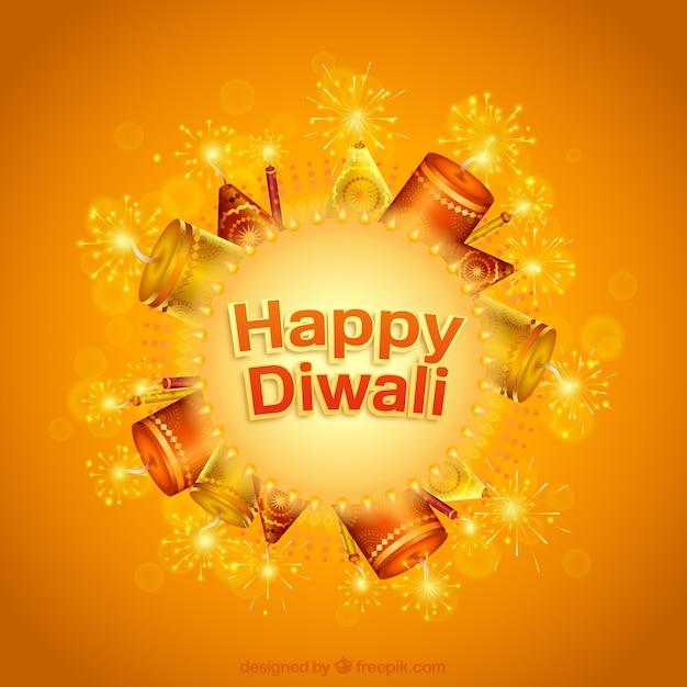 Orange happy diwali card Premium Vector