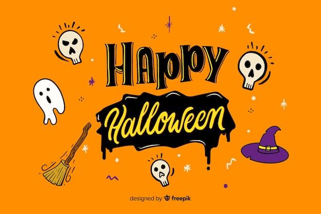 Orange happy halloween lettering Free Vector