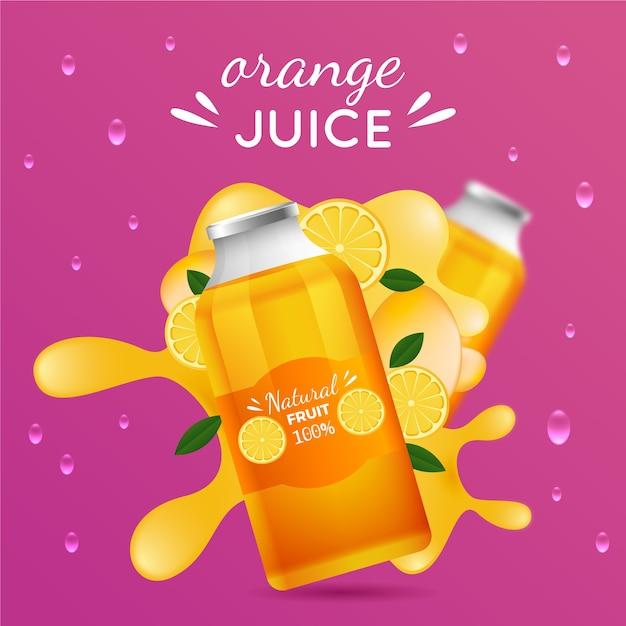 Banner pubblicitario di succo d'arancia Vettore gratuito