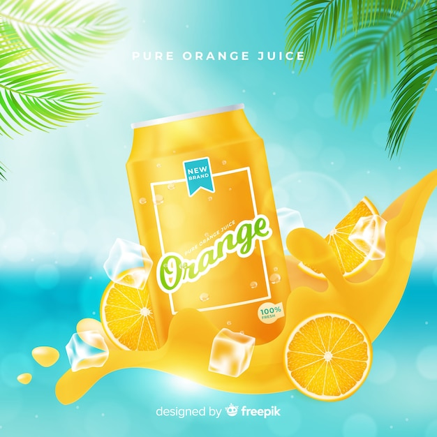 Orange juice advertisement background Free Vector