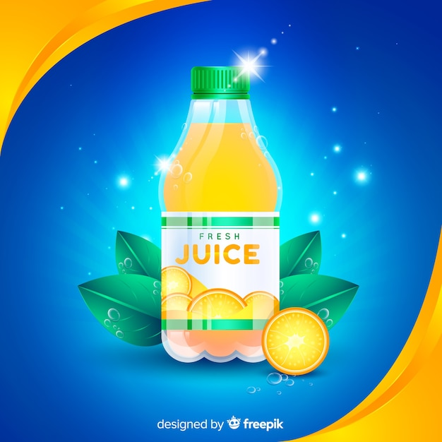 Orange juice advertisement with realistic design Free Vector