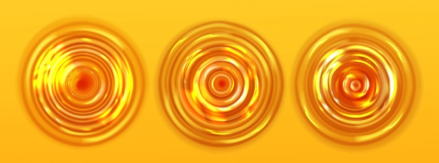 Orange juice or beer ripple top view, wavy texture Free Vector
