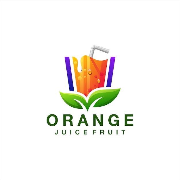 オレンジジュースのグラデーションのロゴのデザイン Premiumベクター