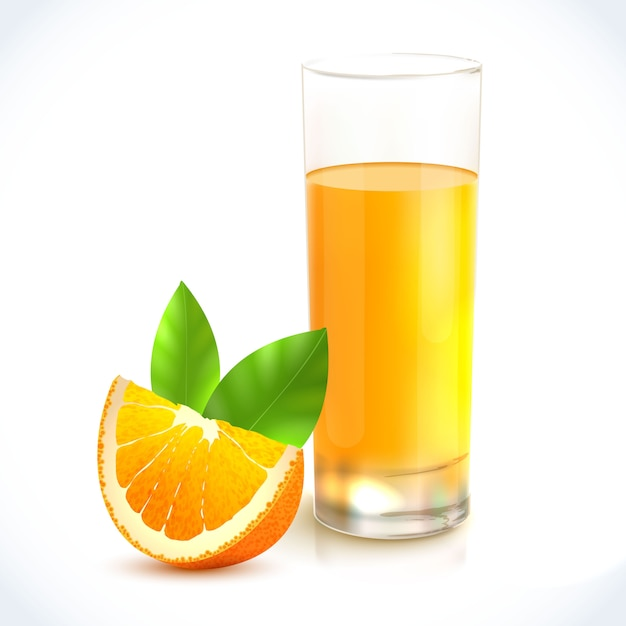 Orange juice healthy drink in glass and citrus fruit with leaf emblem Free Vector