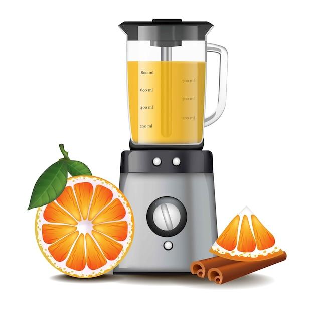 Апельсиновый сок в смесителе blender реалистичный Premium векторы