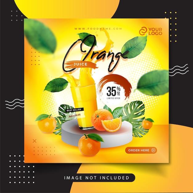 オレンジジュースメニューソーシャルメディア投稿 Premiumベクター