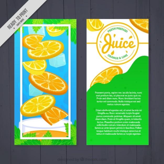 Succo di arancia con volantino di ghiaccio Vettore gratuito