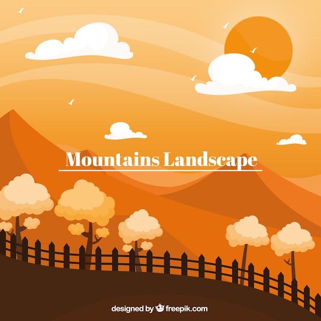 Orange landscape with mountains, sunset