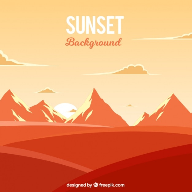 Orange landscape with mountains Free Vector