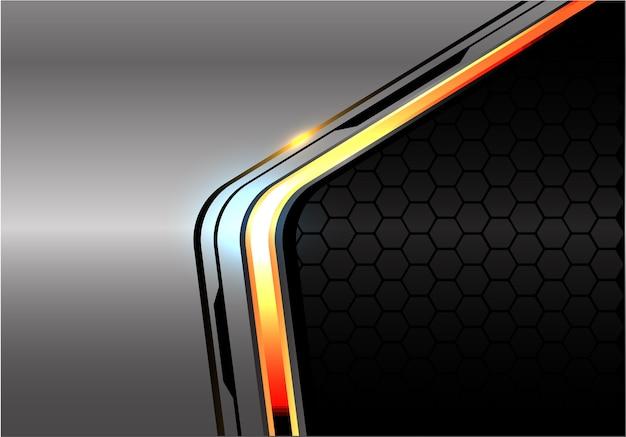 灰色の六角形メッシュの上にオレンジ色の明るい黒線。 Premiumベクター